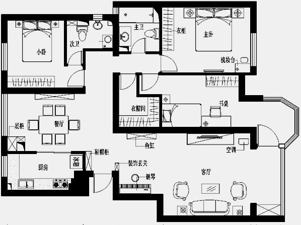 星河城130平米欧式风格三居室--平面布置图