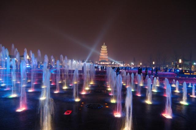 美丽的大雁塔音乐喷泉