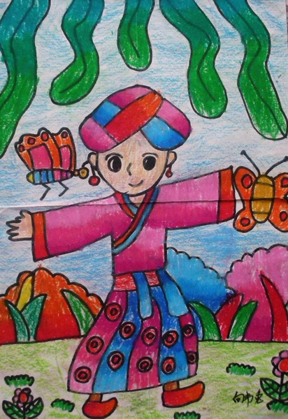 二年级部 家乡美 学生绘画获得一等奖的作品展图片