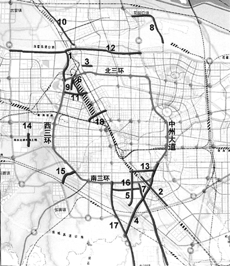 郑州市地铁三号线延长线路线图