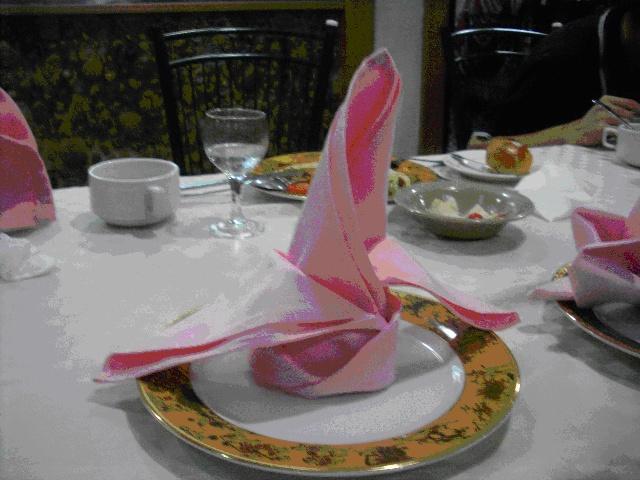 粉红的简单的餐巾布,到了她们手里,不一会儿或是变成一朵美丽的蝴蝶花