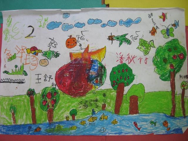 儿童画画地球妈妈图片