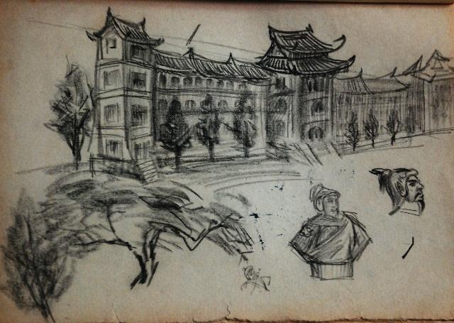 圆珠笔手绘山水画