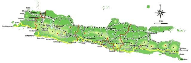 爪哇地图.雅威县与泗水市相距181公里,在东爪哇与中爪哇省交界.