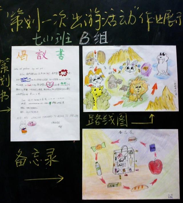 """七年级美术下册""""策划一次出游活动""""学生作业精彩呈现图片"""
