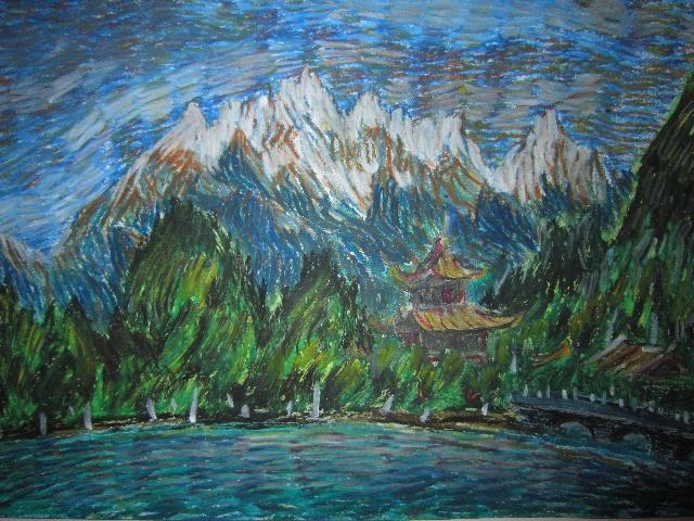 蜡笔画风景