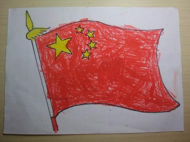 中国国旗手绘图画