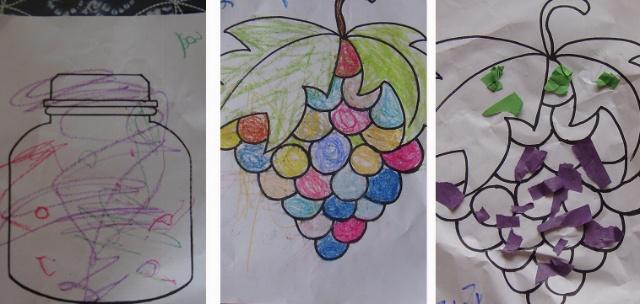 这是油水分离画,菠萝是老师用白色蜡笔画的,孩子们在看似白