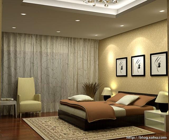 卧室吊顶简单实用美观,全景窗帘装饰凸显朦胧色彩