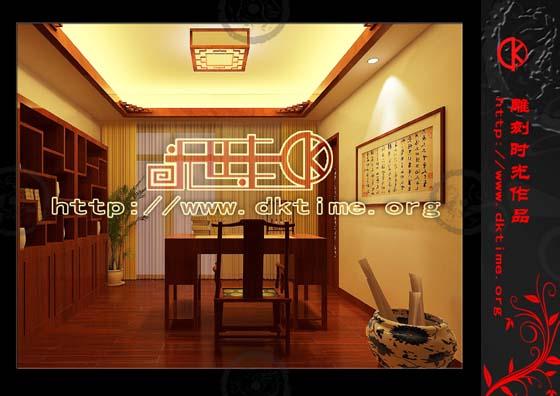 书房角度效果图赏析-居家经典中式装修设计 打造清雅自然的中式环境