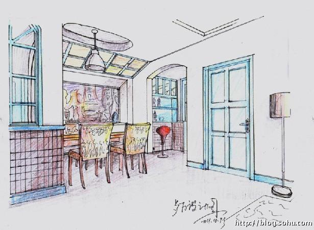 卧室书桌手绘线稿
