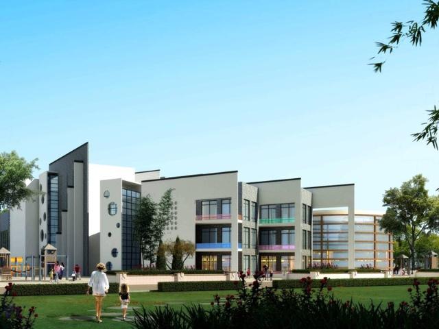 新中式建筑风格,低密度,高绿化生态型的洋房社区