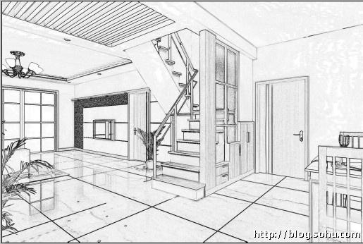 房屋透视图手绘
