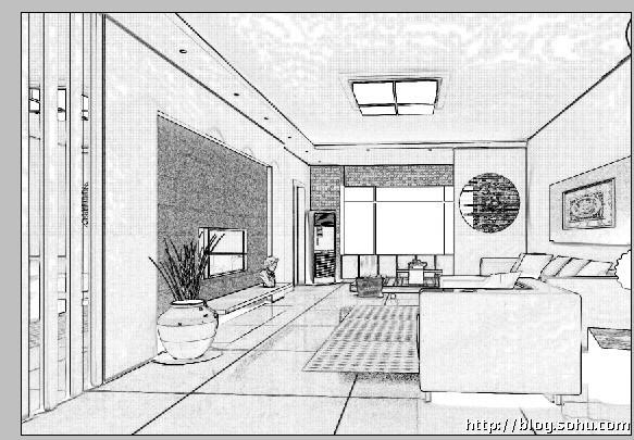 客廳透視圖線稿