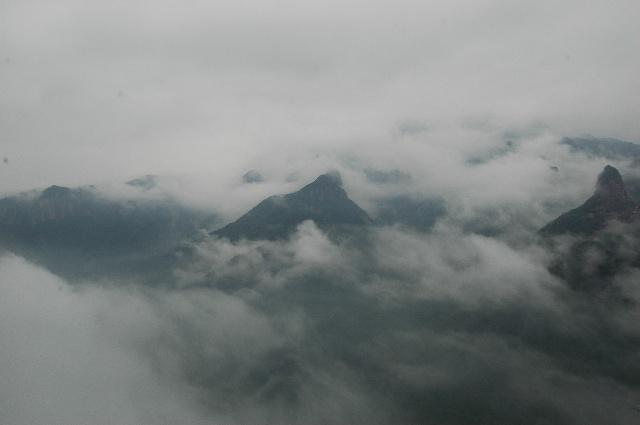 早晨有雾大山上的风景图片