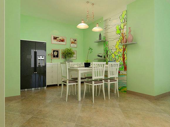 欧式淡绿色沙发