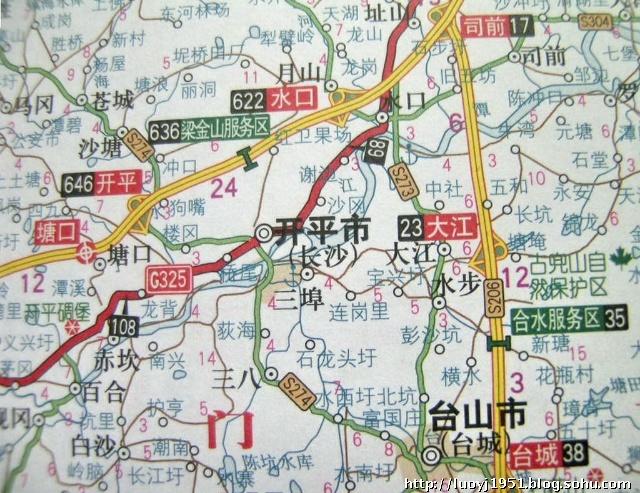 广东省开平市g325国道和s206省道形势图