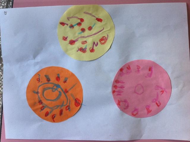 丸子在中山幼儿园的第一次涂鸦作品——月饼图片